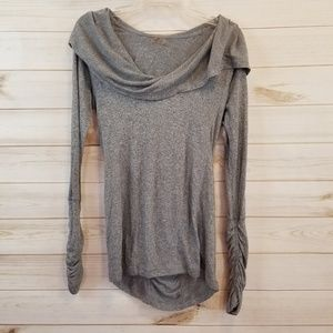 Zella gray work out hoodie with cowl neck size S